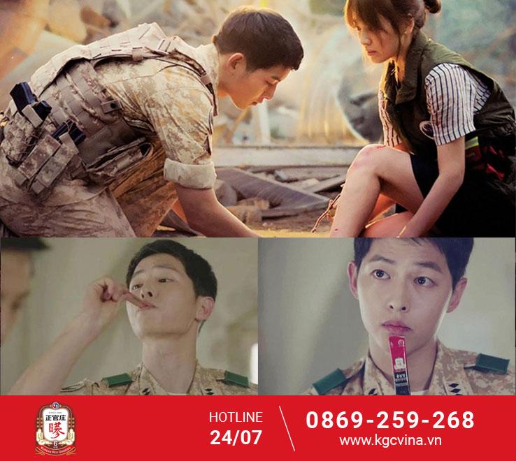 """Nhà tài trợ chính trong bộ phim """"Hậu duệ mặt trời""""; diễn viênSong Joong Ki."""